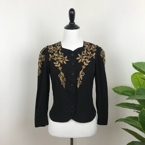 Loft black and gold embroidered cardigan jacket